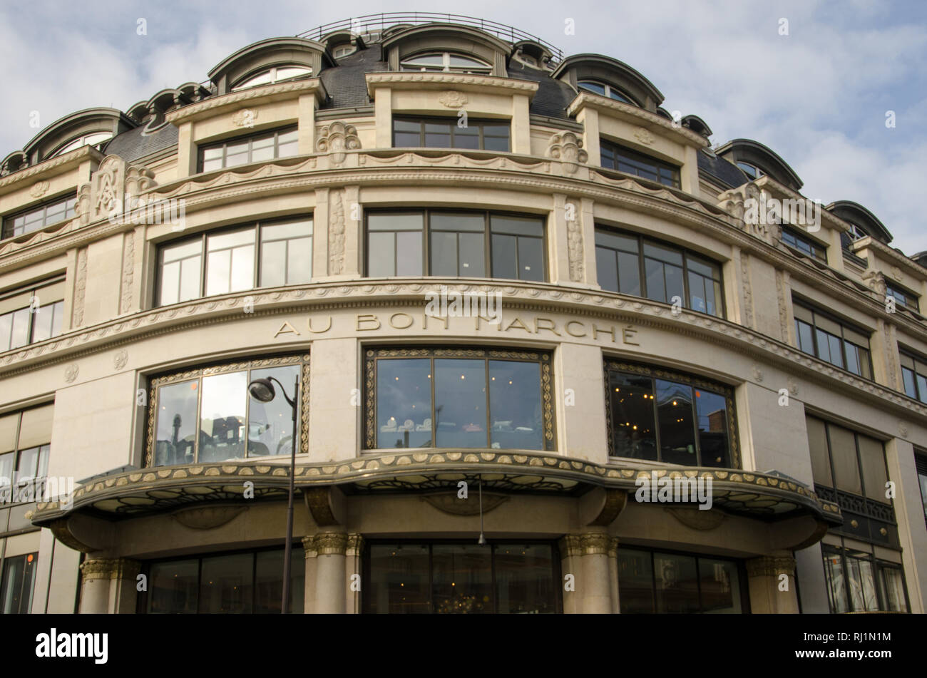 Le Bon Marché facade, at the ground floor there is the Grand Epicerie. Paris, January 29th, 2019 - Stock Image