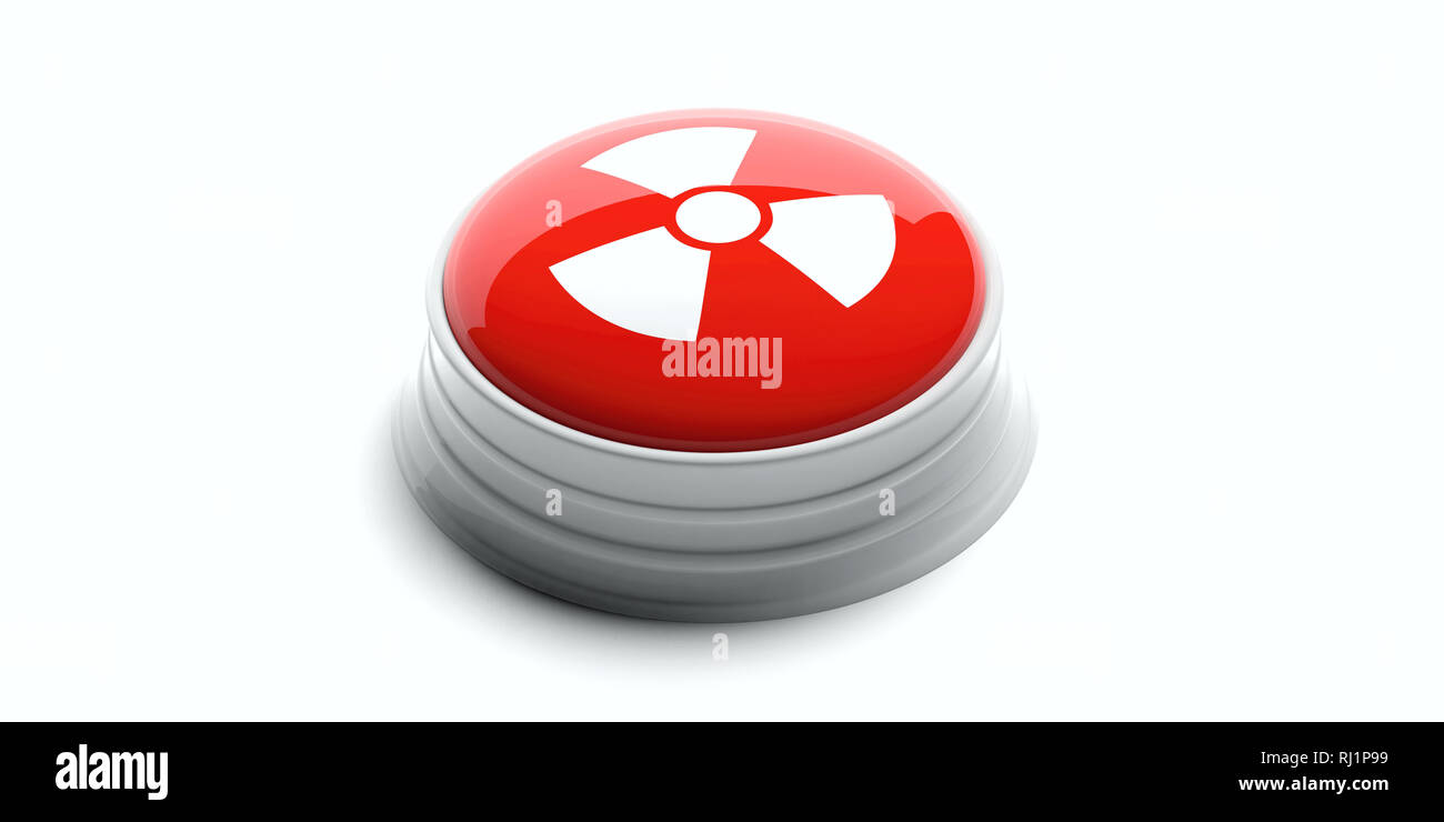 Nuclear threat. Red button with radiation warning symbol isolated on white background. 3d illustration - Stock Image