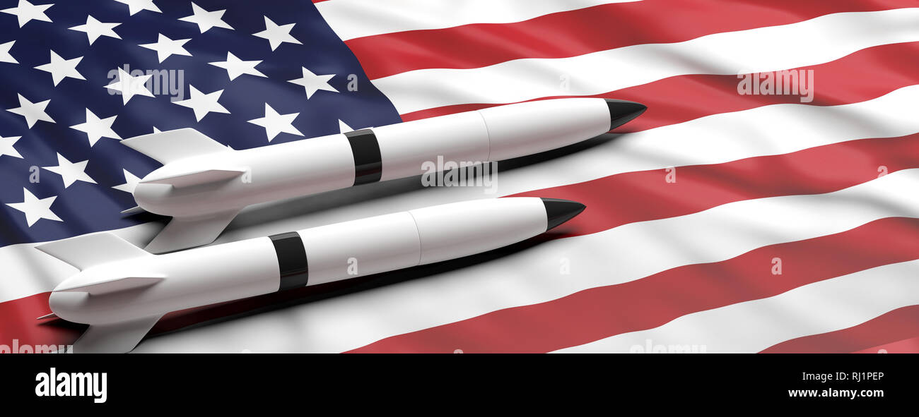USA nuclear weapons. Rockets, missiles on American flag background, banner, copy space. 3d illustration - Stock Image