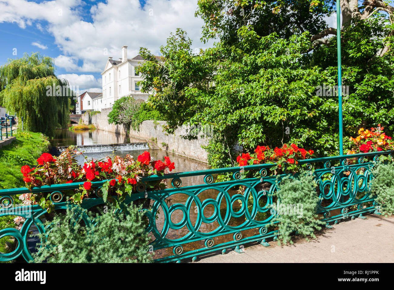 The river flowing through the town of Dawlish Devon England UK Europe - Stock Image