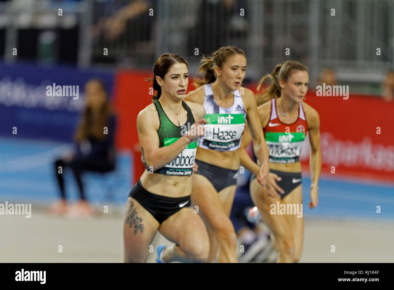 Ewa Swoboda, POL, at the IAAF indoor meeting Karlsruhe 2019 - Stock Image