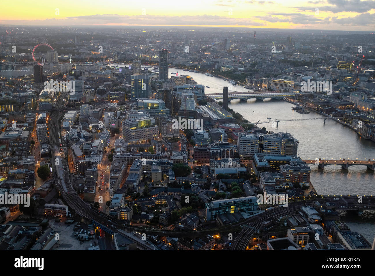 Aerial view of London Skyline and River Thames Cityscape viewed from the Shard at night. Stock Photo