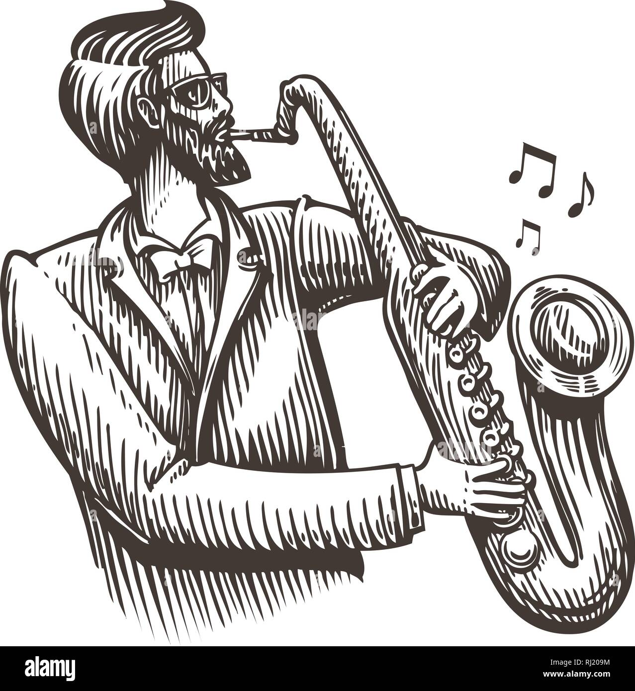 Musician plays the saxophone jazz live music blues sketch