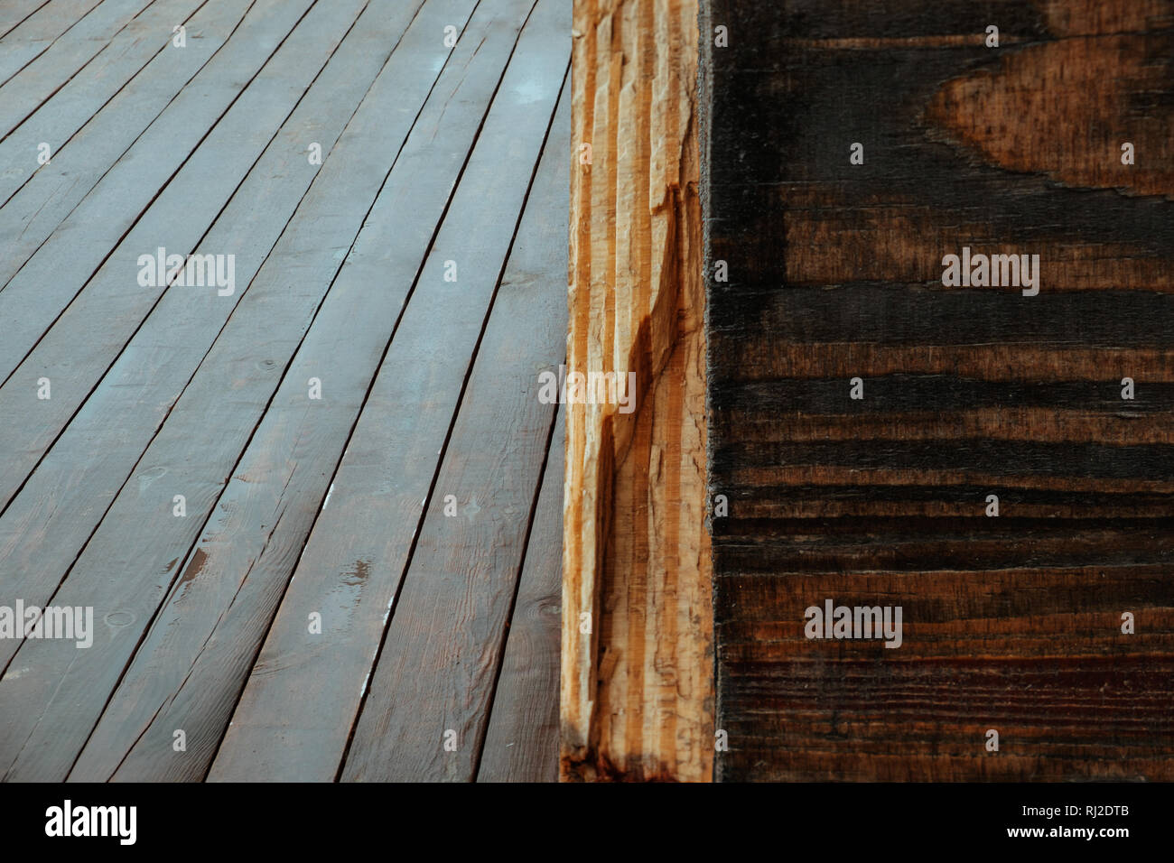 Wet brown wooden wall and floor, wooden texture background Stock Photo