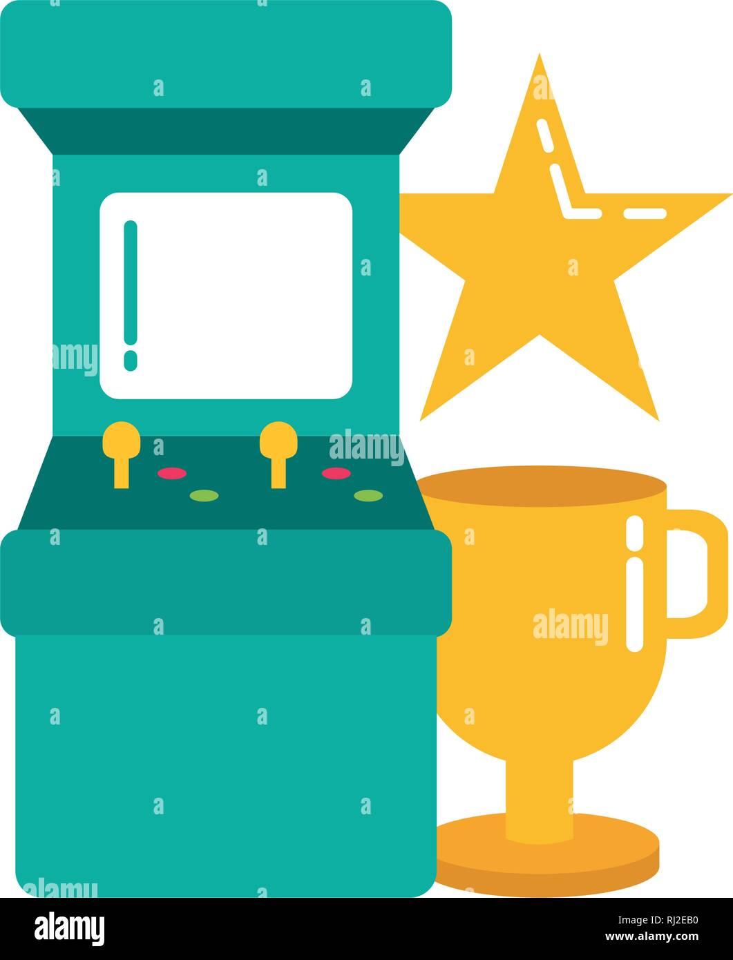 arcade trophy star video game - Stock Vector