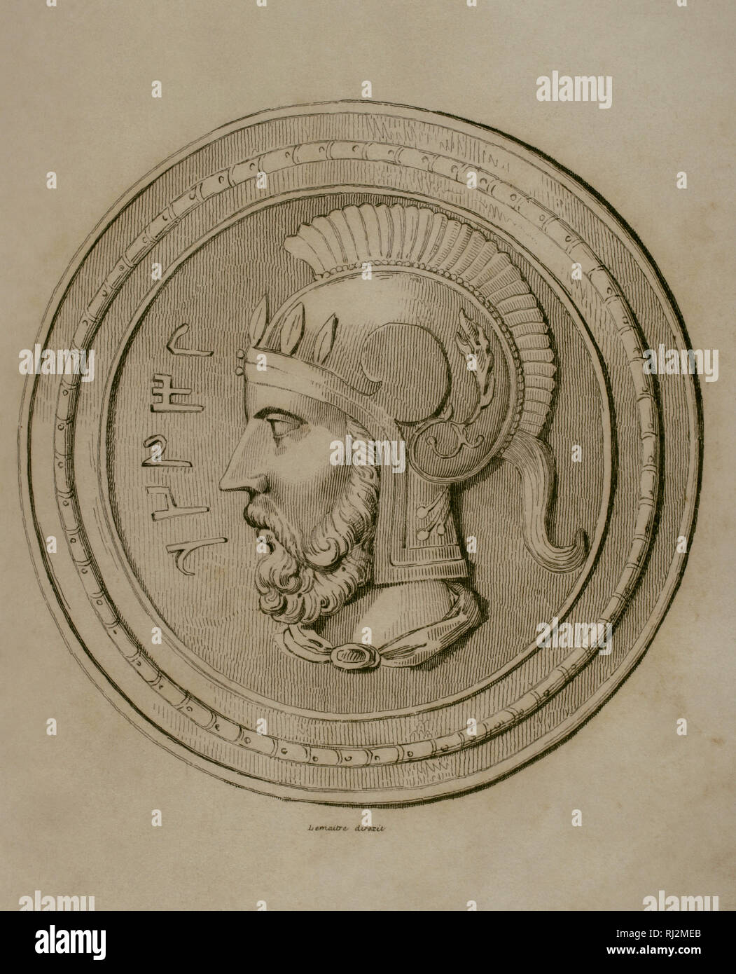 Hannibal Barca (247-183/181 BC). Carthaginian military. Engraving. Lemaitre direxit. Panorama Universal. History of Carthage, 1850. - Stock Image