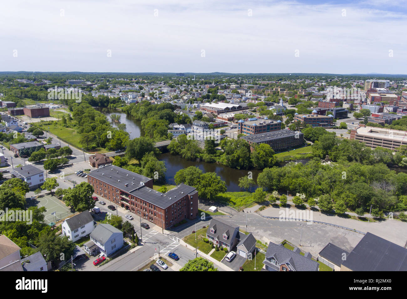 Lowell historic downtown aerial view in Lowell, Massachusetts, USA. - Stock Image
