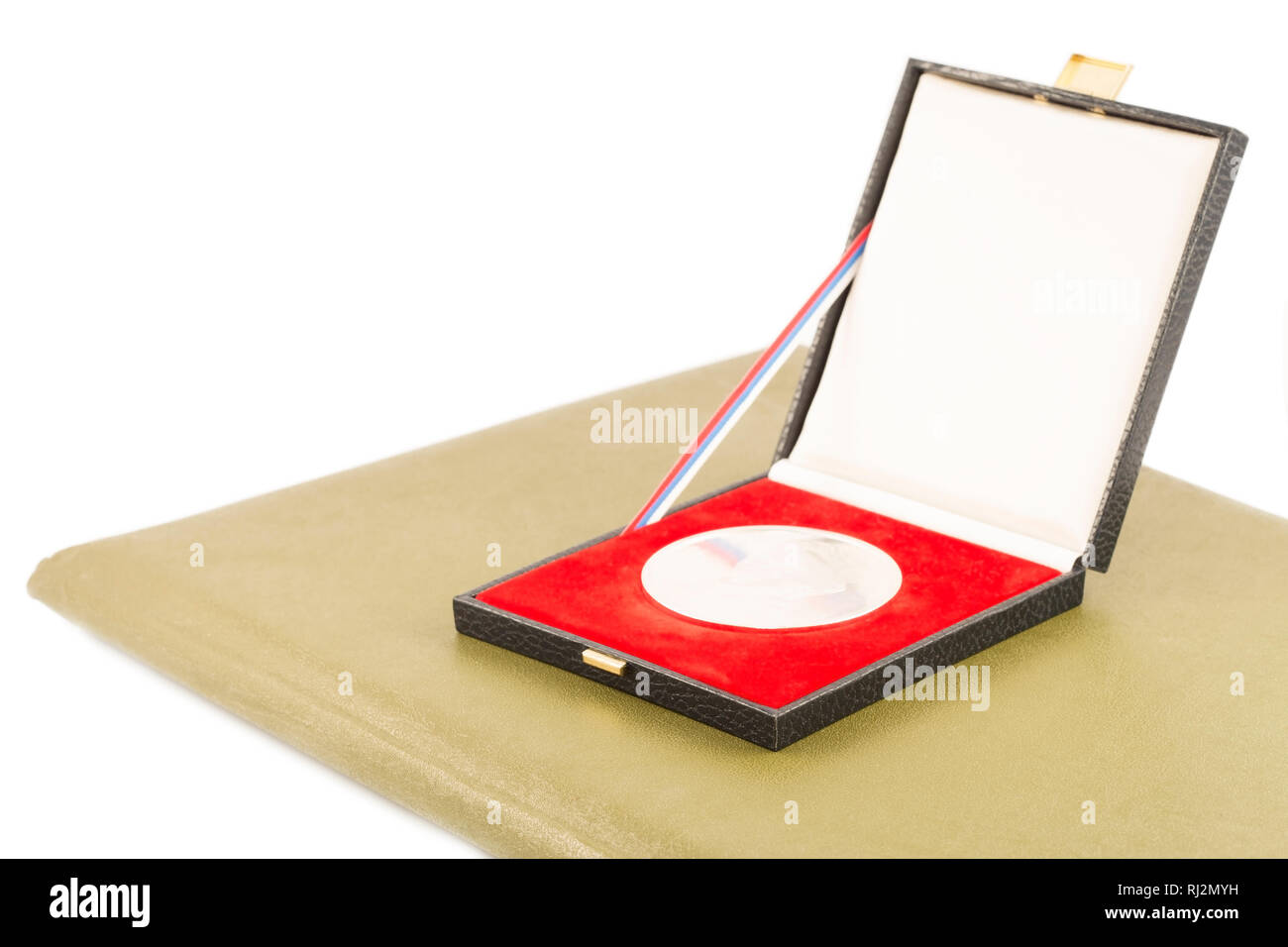 Silver medal and diploma isolated - Stock Image