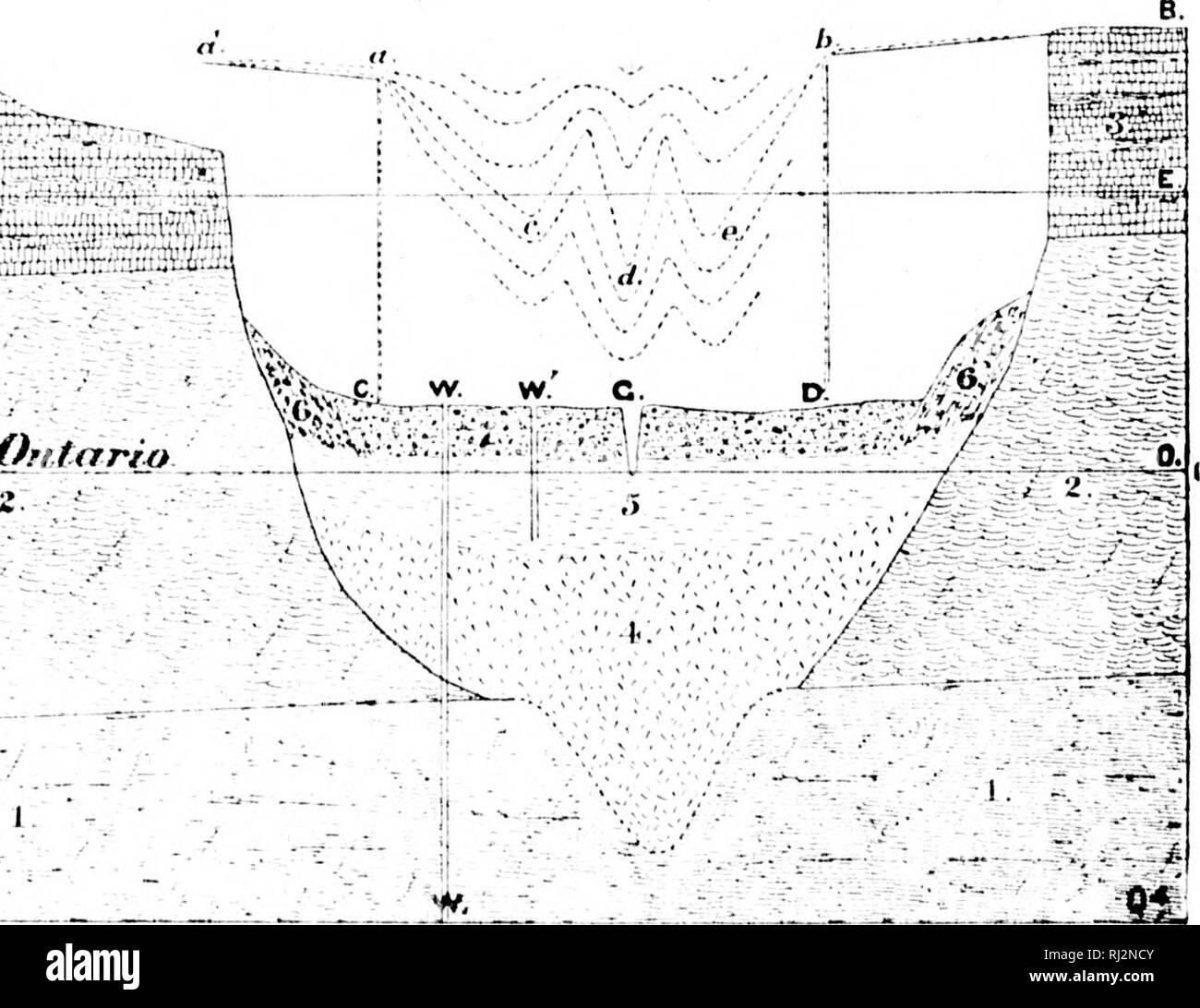". Palaeozoic geology of the region about the western end of Lake Ontario [microform]. Geology; Paleontology; Géologie; Paléontologie. oMj^ L_. I'Mu.'Jâ1. Iliulsdn Iiivfv tnrniiitioii : 2. Medina slialcs ; :!. Niagara .UKl 'Mintoii (Inlumitt's with sonte siiaifs. A, ('. D, 1'.. modern valley at ini'iidiai) ol ]>urliii,i;h>ii iiei^hts: r, (', D. li, modern valley at meri- dian of I)iiiiilas: a, c, d. e, li, sertions across, deeply excavated in beds ol' streams in wistein part of the Dundas valley ; â¢!. i'.onkler clay liilinn'aiK ient viiliey : ,""). Erie clay: C. 'I'lilns from side - Stock Image"