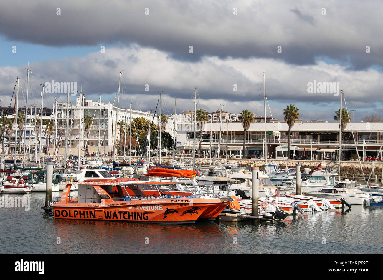 Lagos Marina in Winter - Stock Image