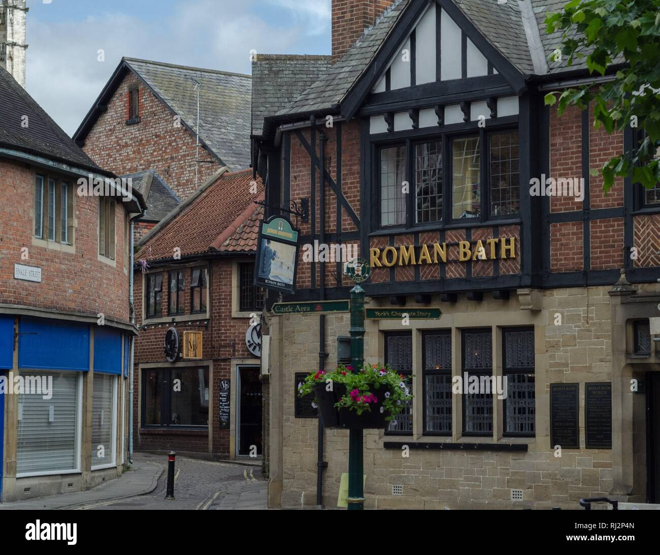 Medieval shops and stores near the Shambles Market in York, England. - Stock Image