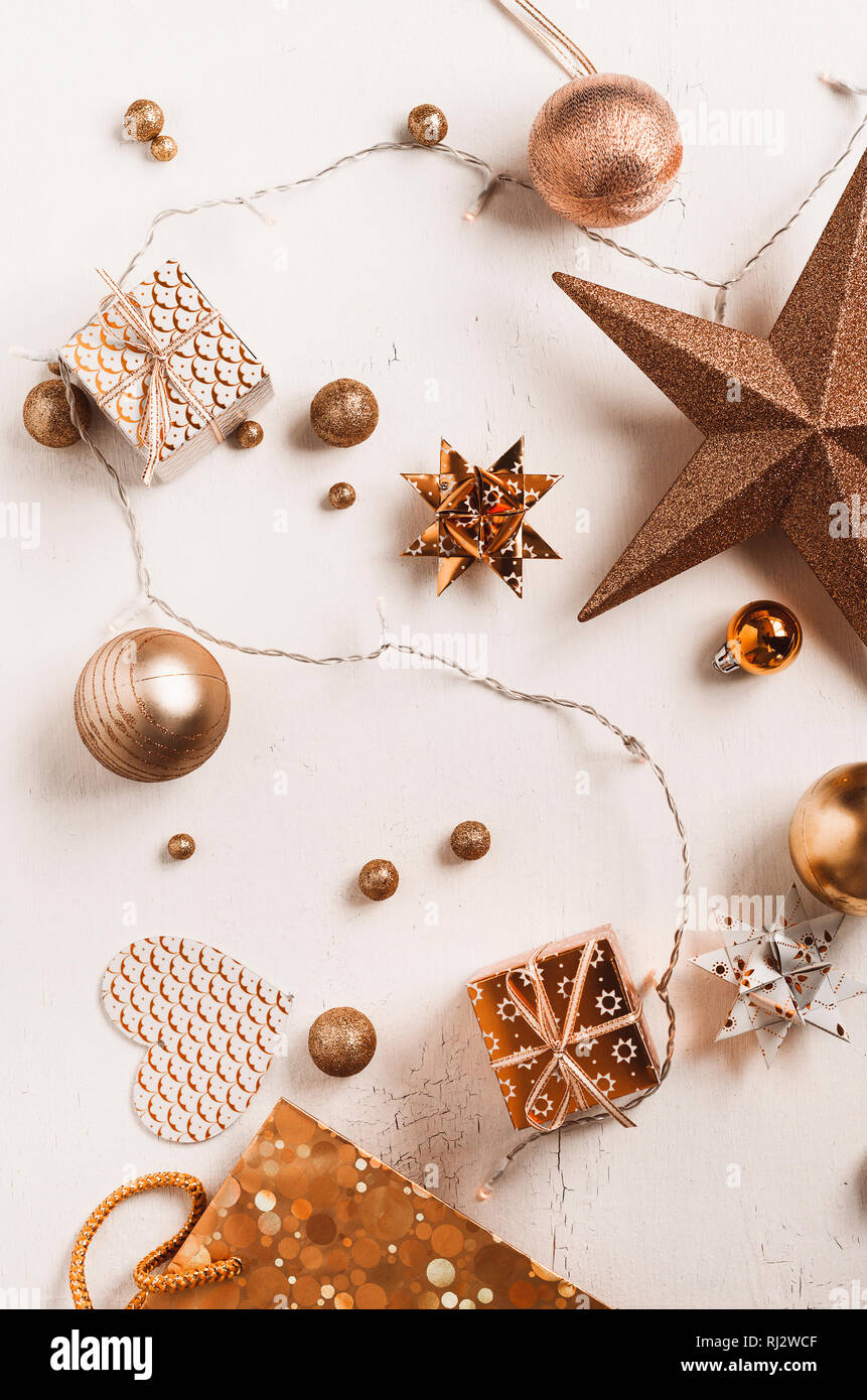 Christmas decoration flat lay Stock Photo