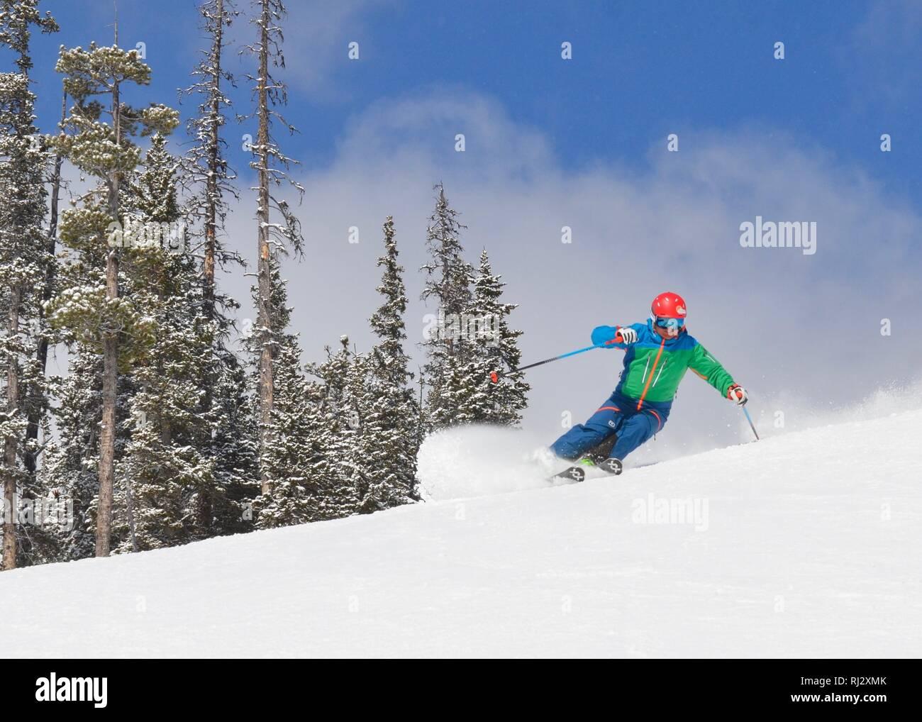 powder skiing Canada - Stock Image