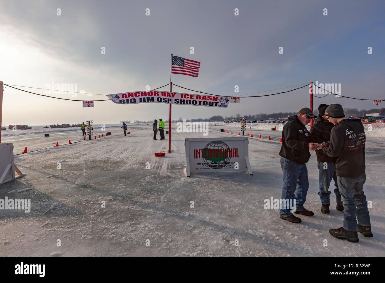 Fair Haven, Michigan - Race officials confer before a
