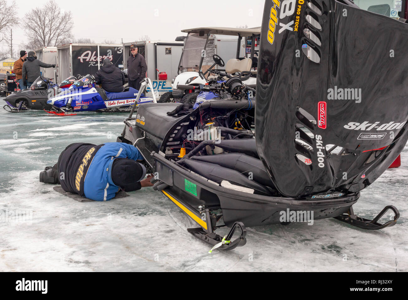 Fair Haven, Michigan - Racers work on their machines before