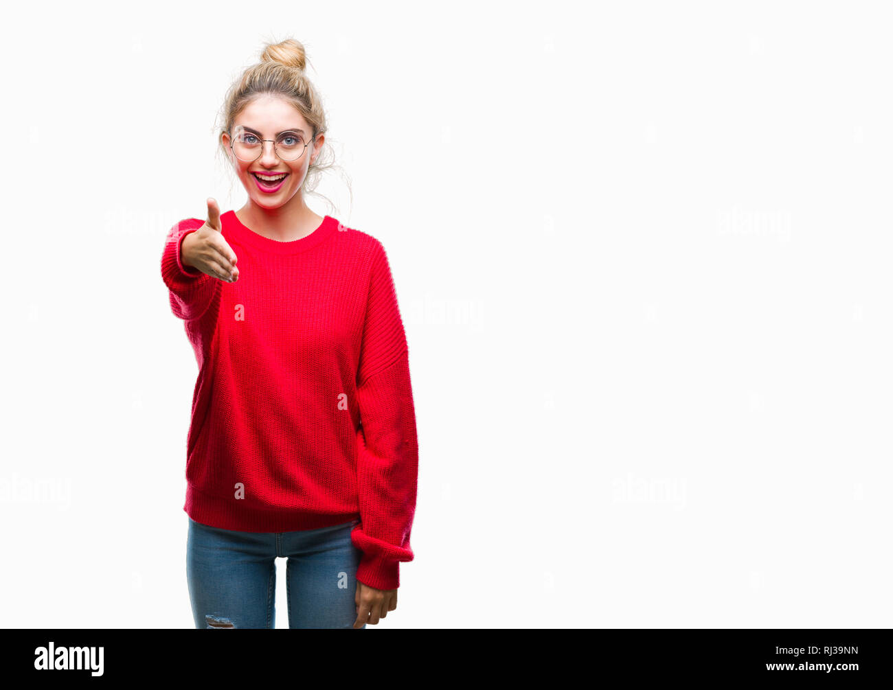 a9eb1552 Young beautiful blonde woman wearing red sweater and glasses over isolated  background smiling friendly offering handshake