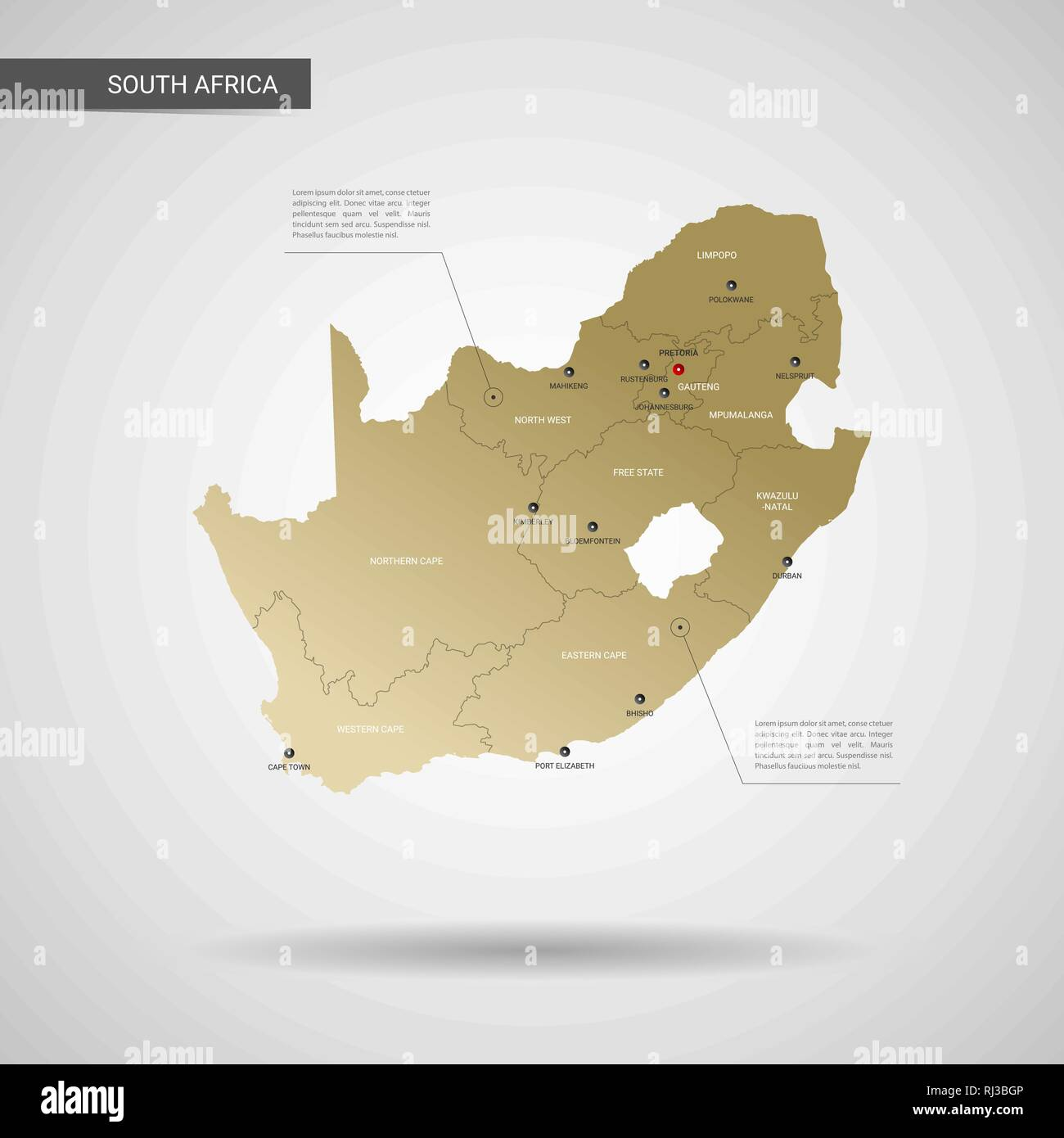 Gold In South Africa Map.Stylized Vector Republic Of South Africa Map Infographic 3d