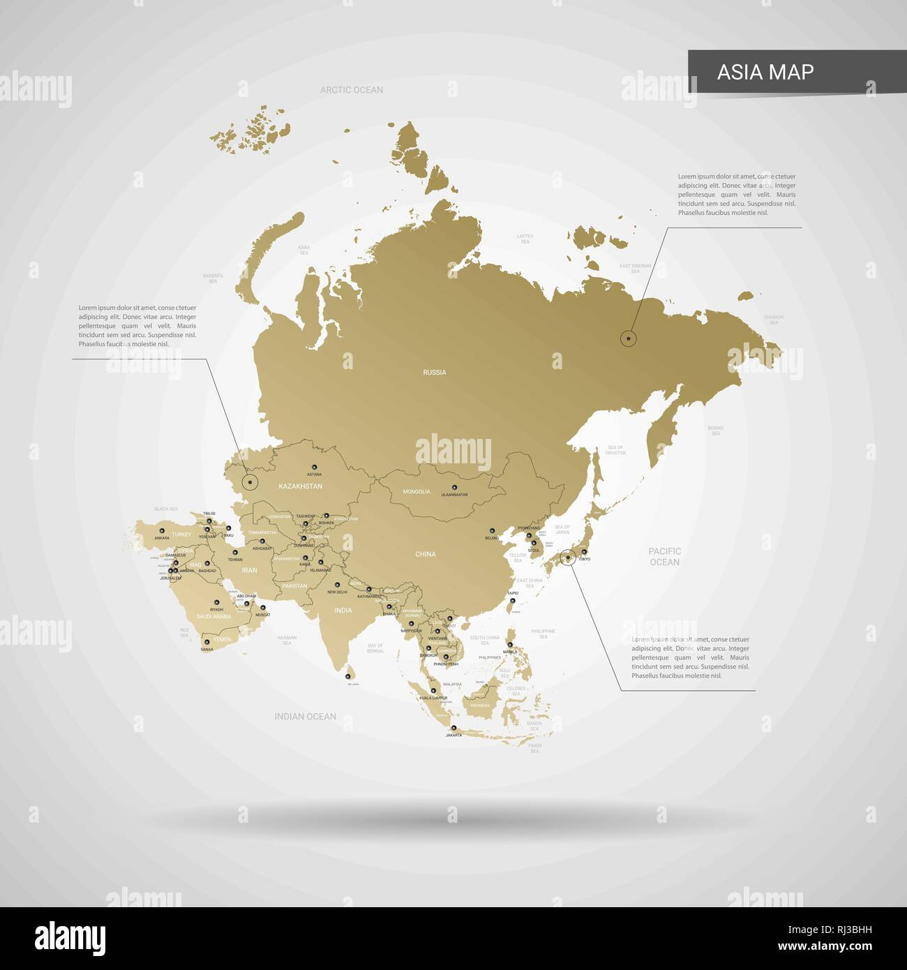 Map Of Asia With Capital Cities.Stylized Vector Asia Map Infographic 3d Gold Map Illustration With