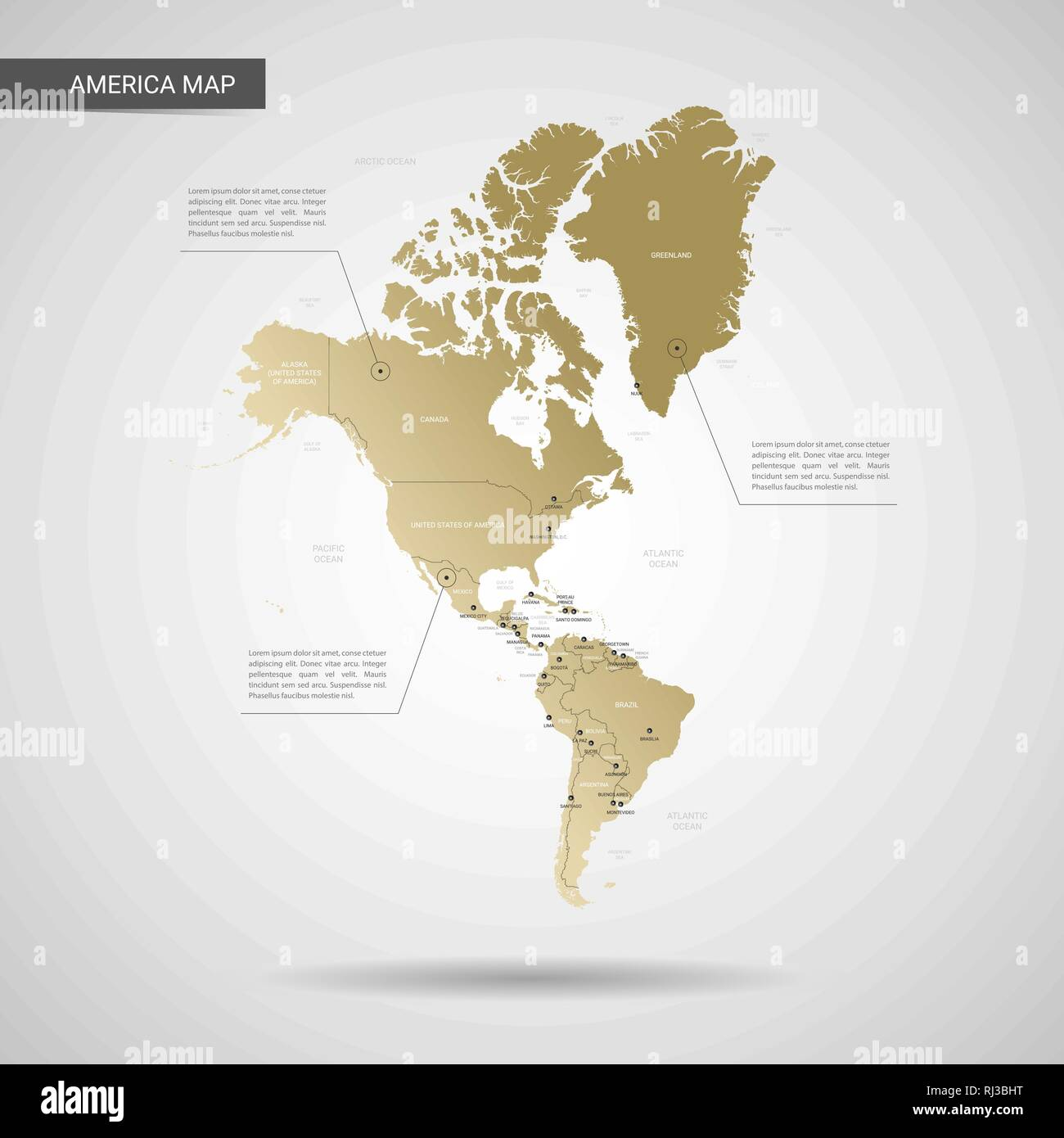 Map Of America 3d Vector.Stylized Vector America Map Infographic 3d Gold Map Illustration