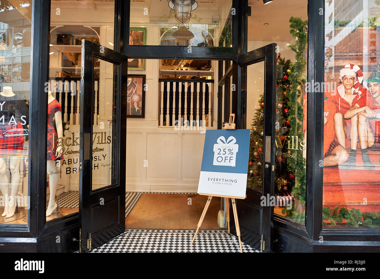 HONG KONG - DECEMBER 25, 2015: Jack Wills storefront. Jack Wills is a British clothing brand headquartered in London after establishing itself in Salc - Stock Image