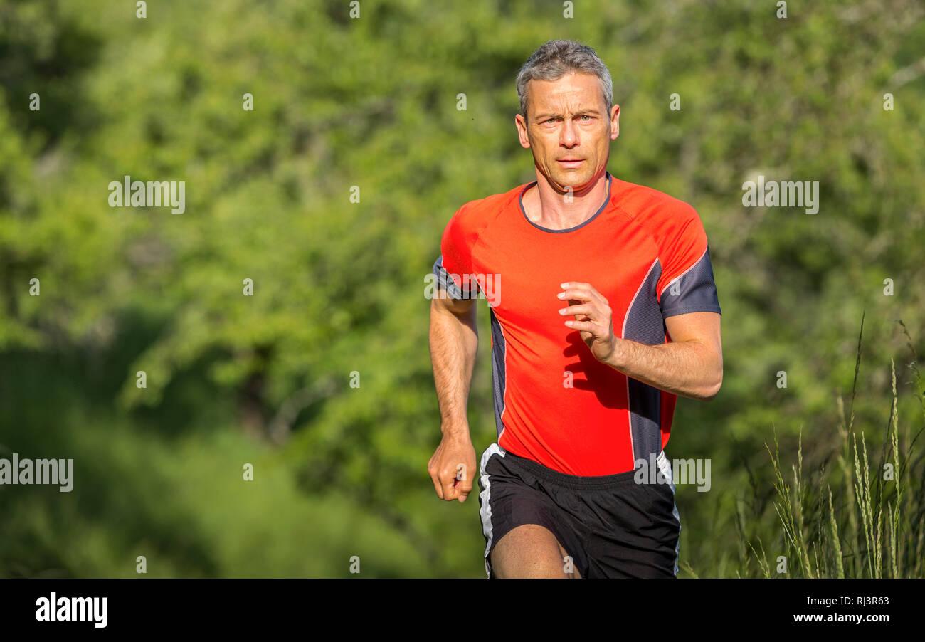 Mann, 40-50 Jahre, joggen, Wiese, Feldweg - Stock Image