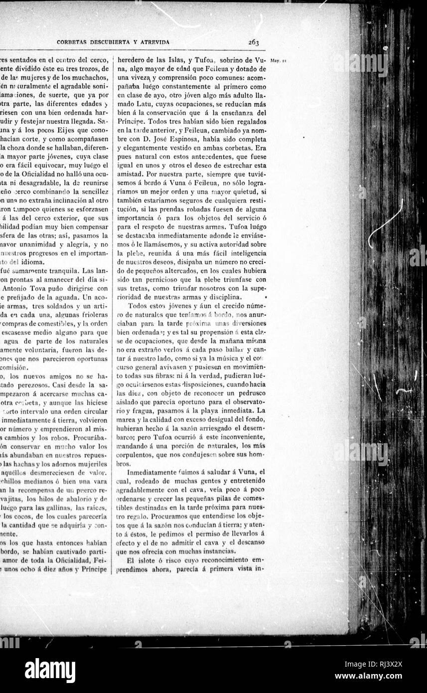 . Viaje político-científico alrededor del mundo [microform] : por las corbetas Descubierta y Atrevida al mando de los capitanes de navío D. Alejandro Malaspina y Don José de Bustamante y Guerra, desde 1789 á 1794. Descubierta (Corvette); Atrevida (Corvette); Descubierta (Corvette); Atrevida (Corvette); Voyages around the world; Scientific expeditions; Voyages autour du monde; Expéditions scientifiques. CORBETAS DESCUBIERTA Y ATREVIDA 263 uiy it veinte hombres sentados en el centro del cerco, y advertidamente dividido éste en tres tronos, de los hombres, de la' mujeres y de los muchachos, divid - Stock Image