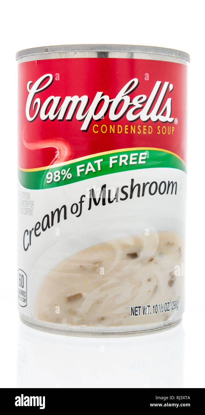 Winneconne, WI - 2 Feb 2019: A can of Campbells soup in cream of mushroom fat free on an isolated background Stock Photo