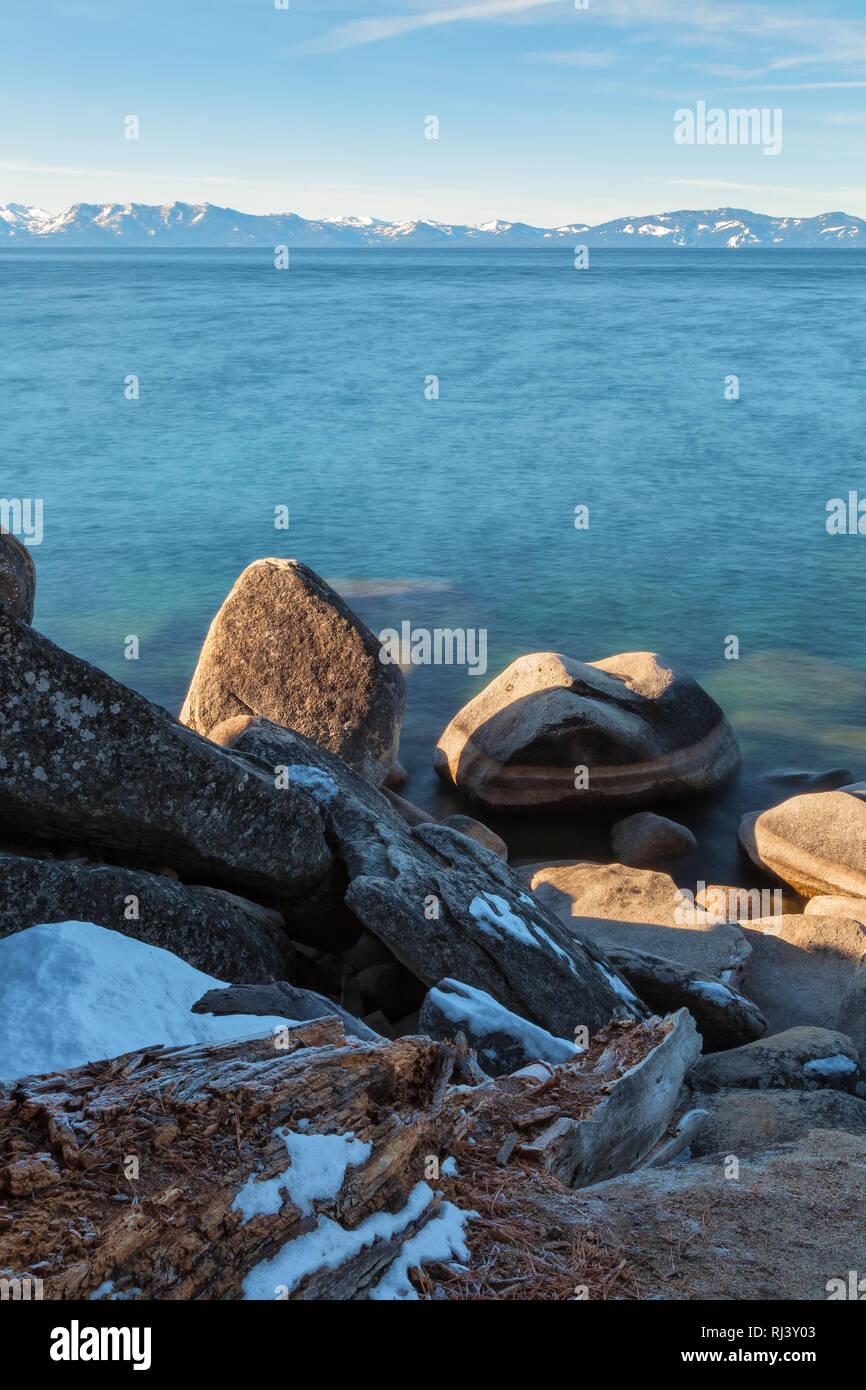 Lake Tahoe on a winter morning, Nevada, United States. Stock Photo