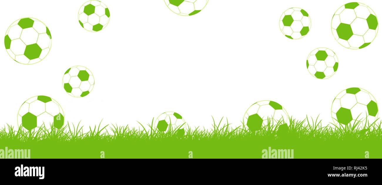Fußbälle fliegen auf Rasen, Tor - Stock Image