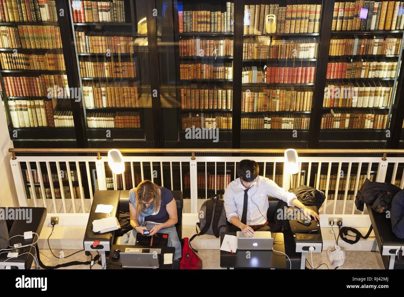 England, London, The British Library, Innenaufnahme, - Stock Image