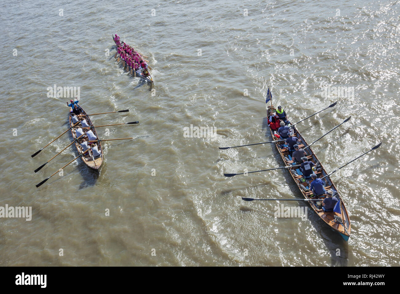 England, London, traditionelles Bootsrennen, Great River Race, - Stock Image