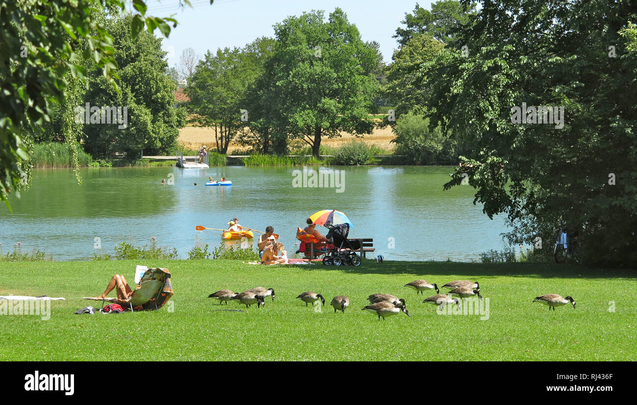 Deutschland, Oberbayern, Germeringer See, Stock Photo