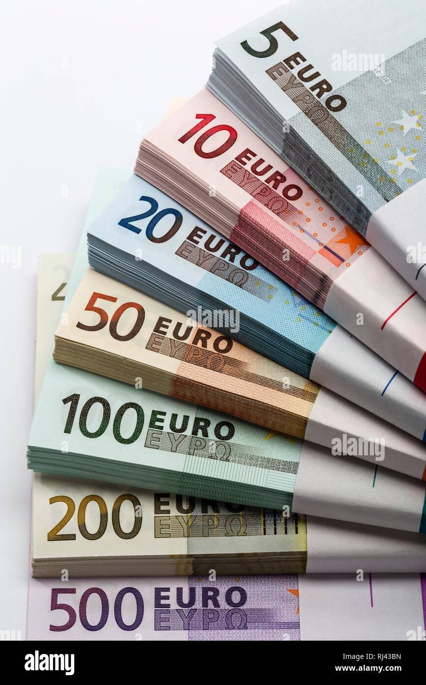 B?ndel Geldscheinen, verschiedene Euro-Banknoten, Detail, Stock Photo
