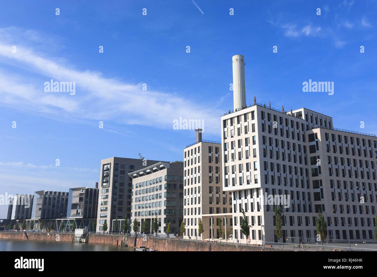 Europa, Deutschland, Hessen, Frankfurt, Westhafen, Bürogebäude Komplex Stock Photo
