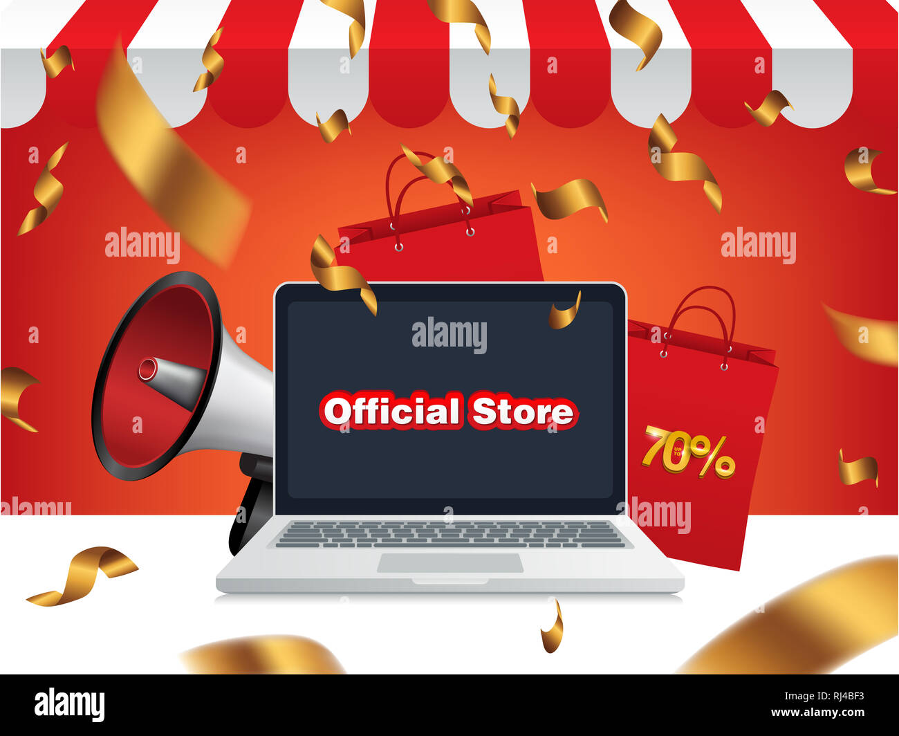 Grand Opening Official Store Sale Bag Online Shop Background Stock Photo Alamy