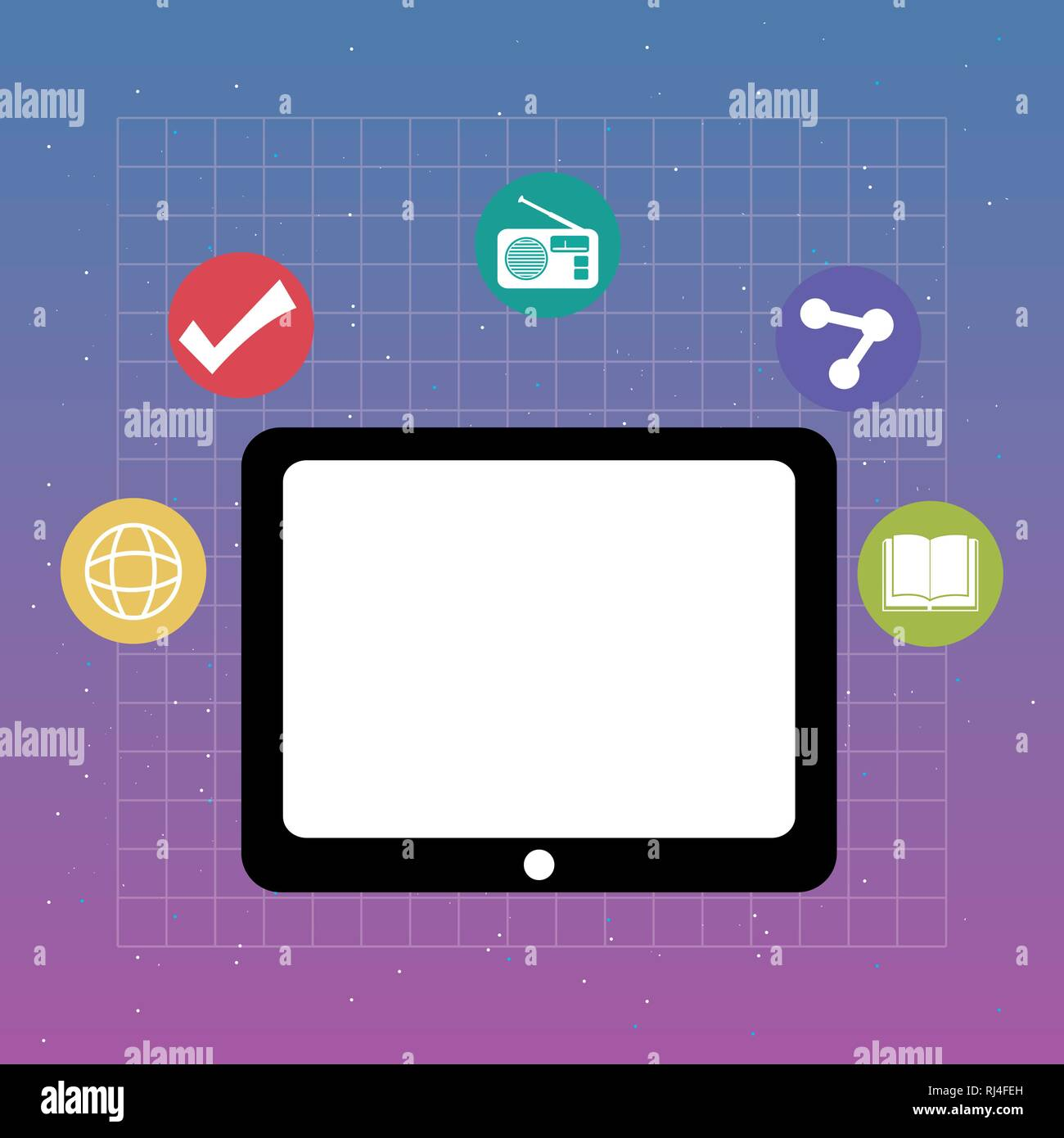 tablet with applications menu vector illustration design - Stock Image