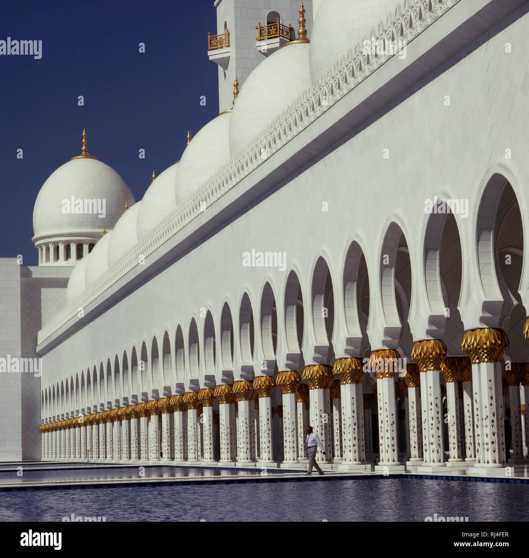 Abu Dhabi, Scheich-Zayid-Moschee Stock Photo