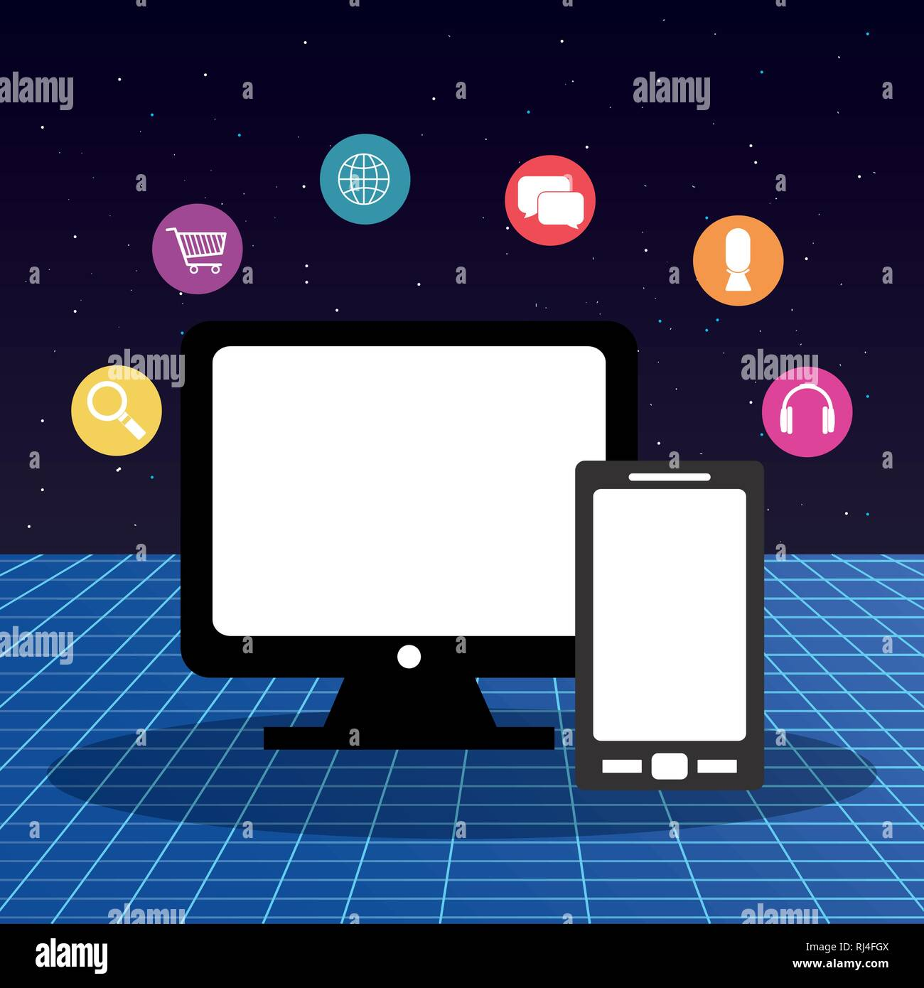 computer display with multimedia apps vector illustration design Stock Vector