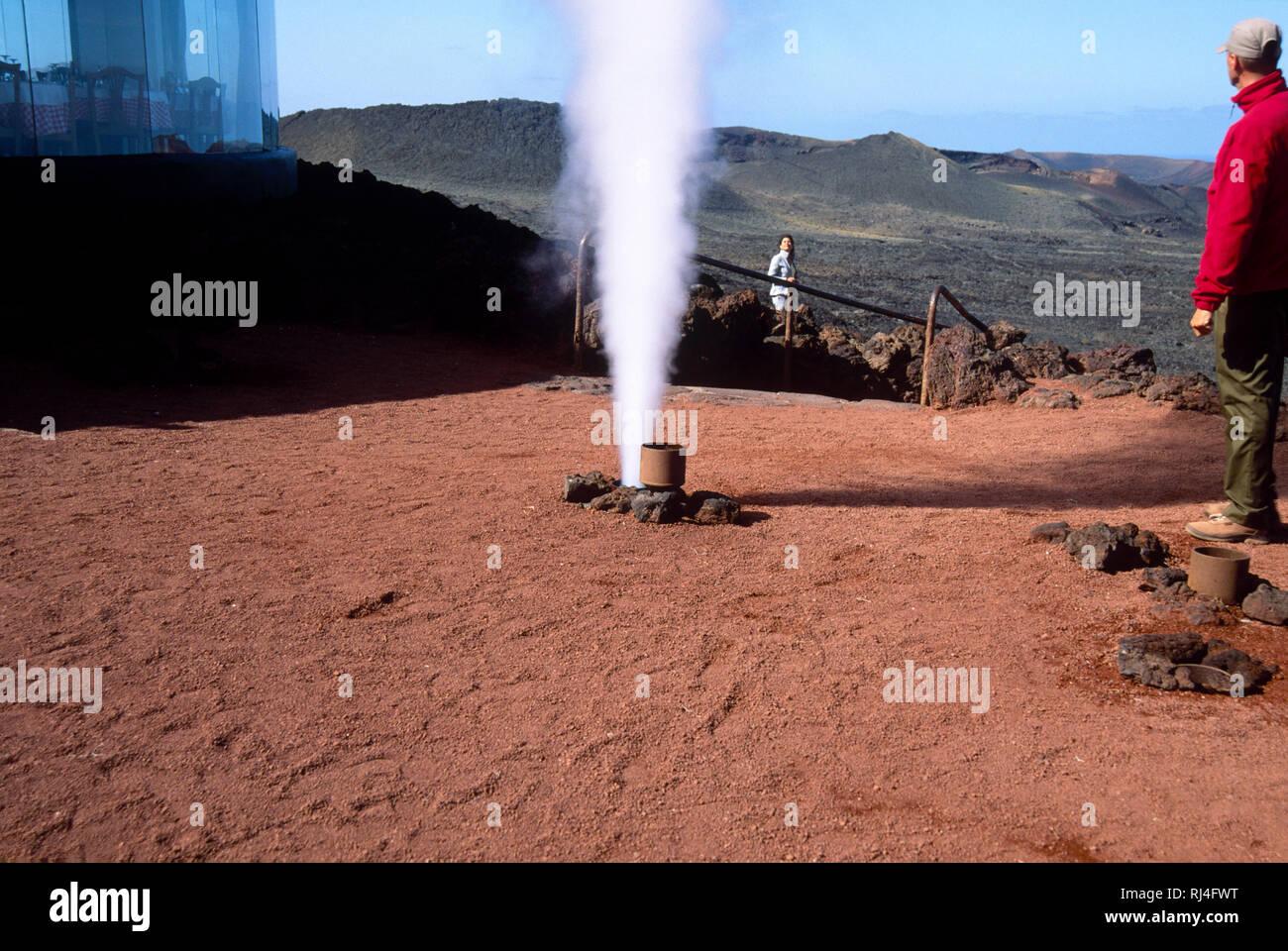 Nationalpark Timanfaya, Wasserdampf, Font?ne - Stock Image