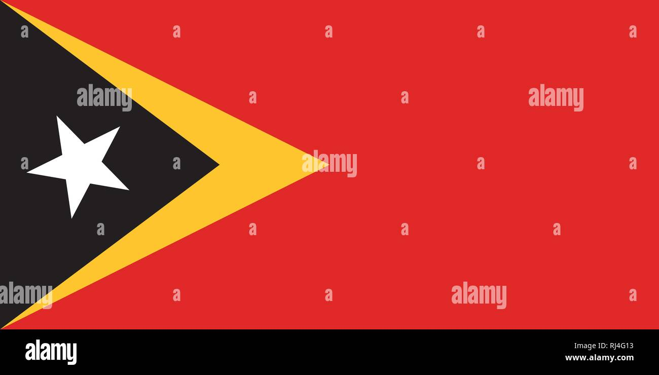 Vector Image of Timor Leste Flag. Based on the official and exact Timor Leste flag dimensions (2:1) & colors (485C, 123C, Black and White) - Stock Vector