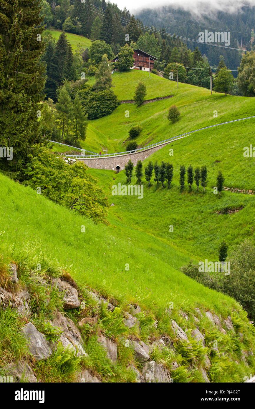 Stra?e quert steile Bergwiese Stock Photo