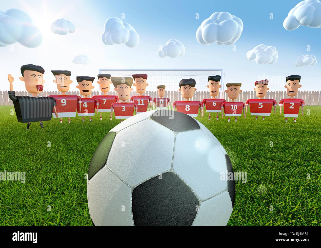 Ein großer Fussball vor Spielerfiguren in rotem Trikot nebst Schiedsrichter auf Bolzplatz und sonnig bewölktem Wetter - Stock Image