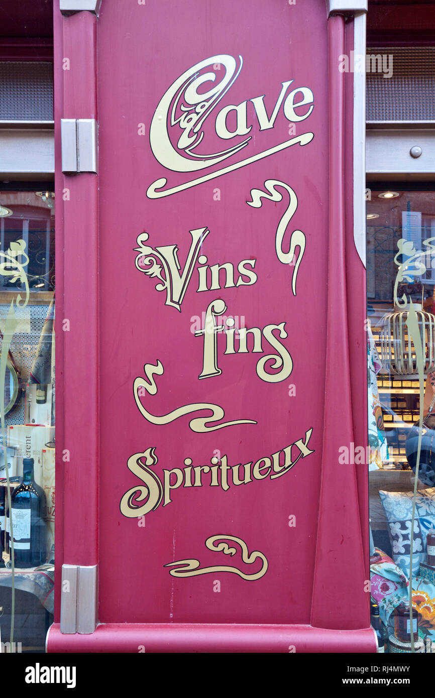 Werbung für französischen Weinkeller - Stock Image