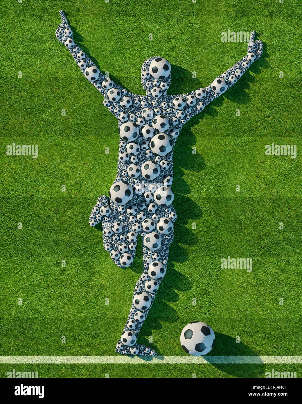 Fussbälle auf grünem Rasen-Spielfeld bilden die Figur eines laufenden und  jubelnden Fusballspieler. Eine weiß gekalkte Feldlinie bildet den Boden. - Stock Image