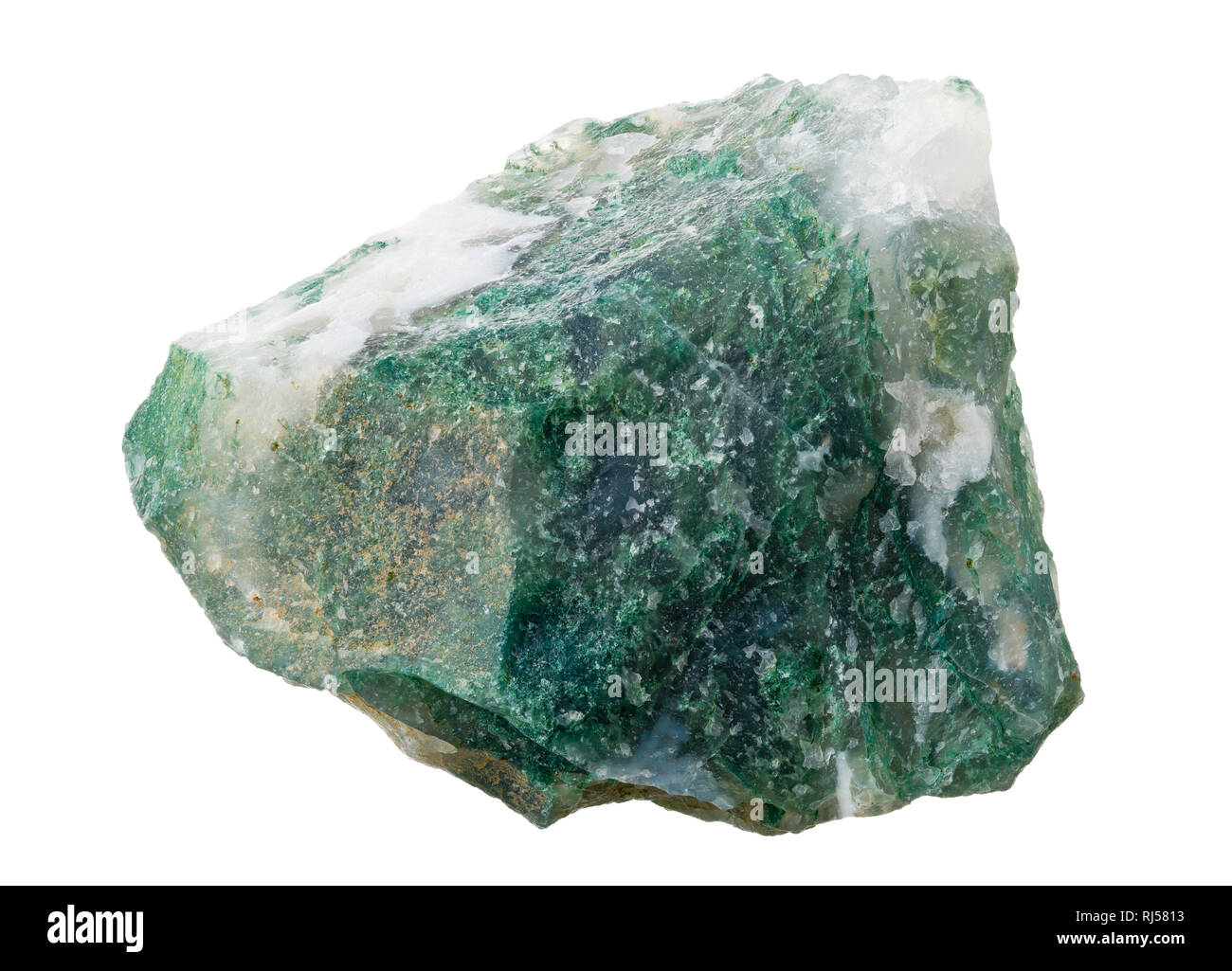 Moss agate (SiO2), a form of chalcedony, specimen from India isolated on white background - Stock Image