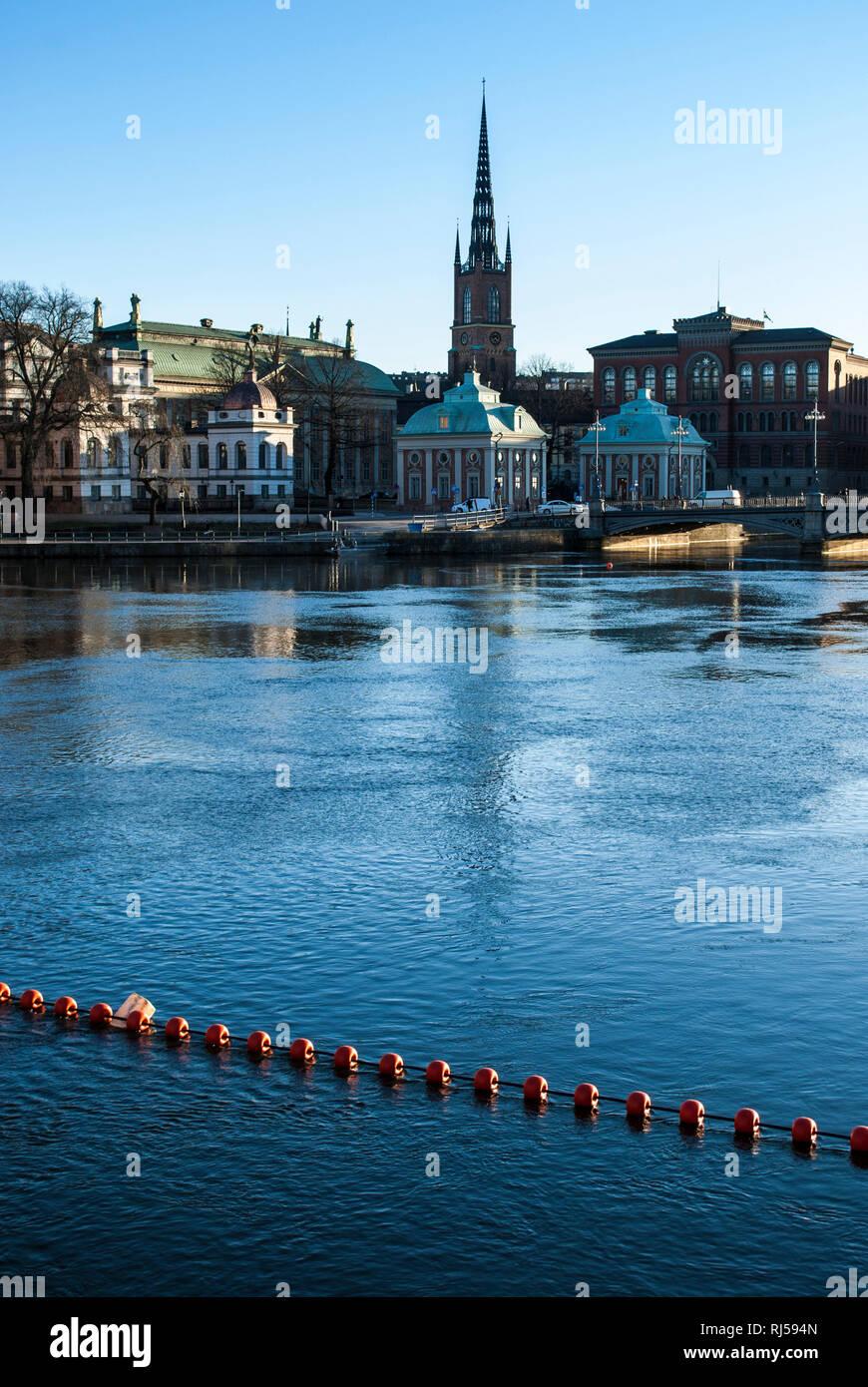 Blick auf Riddarhuset, Riddarholmskyrkan, Stockholm - Stock Image