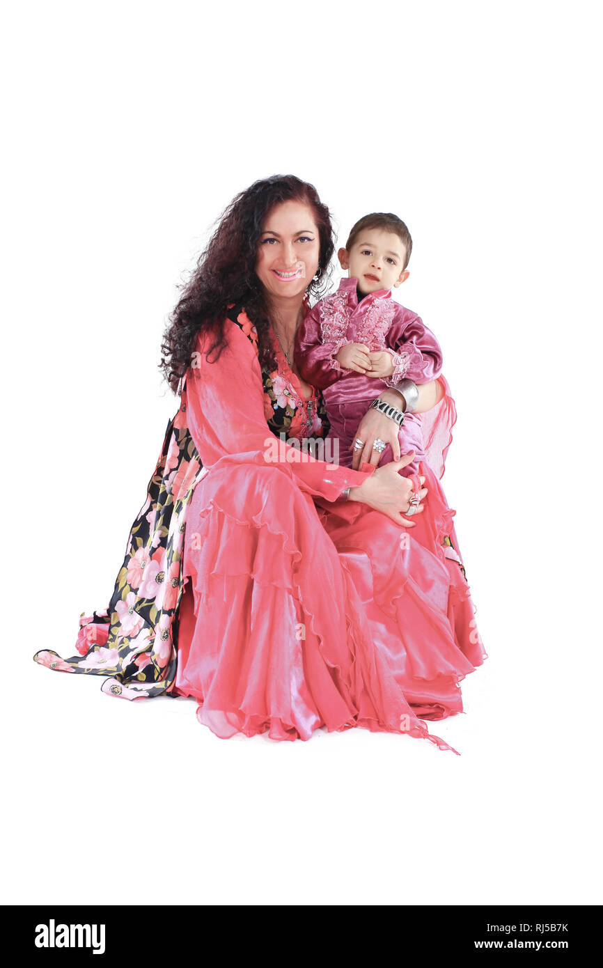 happy mother and son in the Gypsy costumes - Stock Image