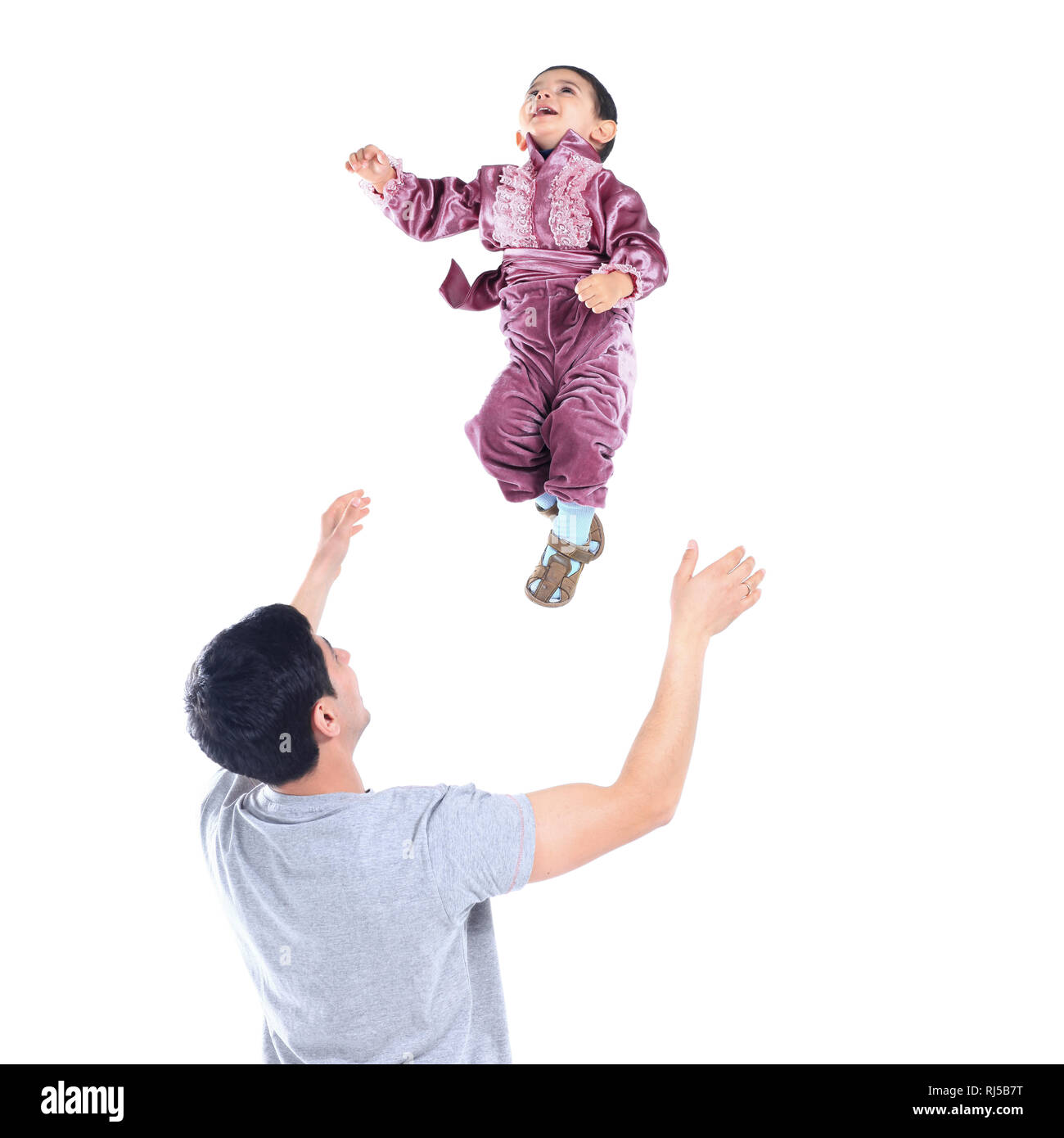 father playing with young son.isolated on a white - Stock Image