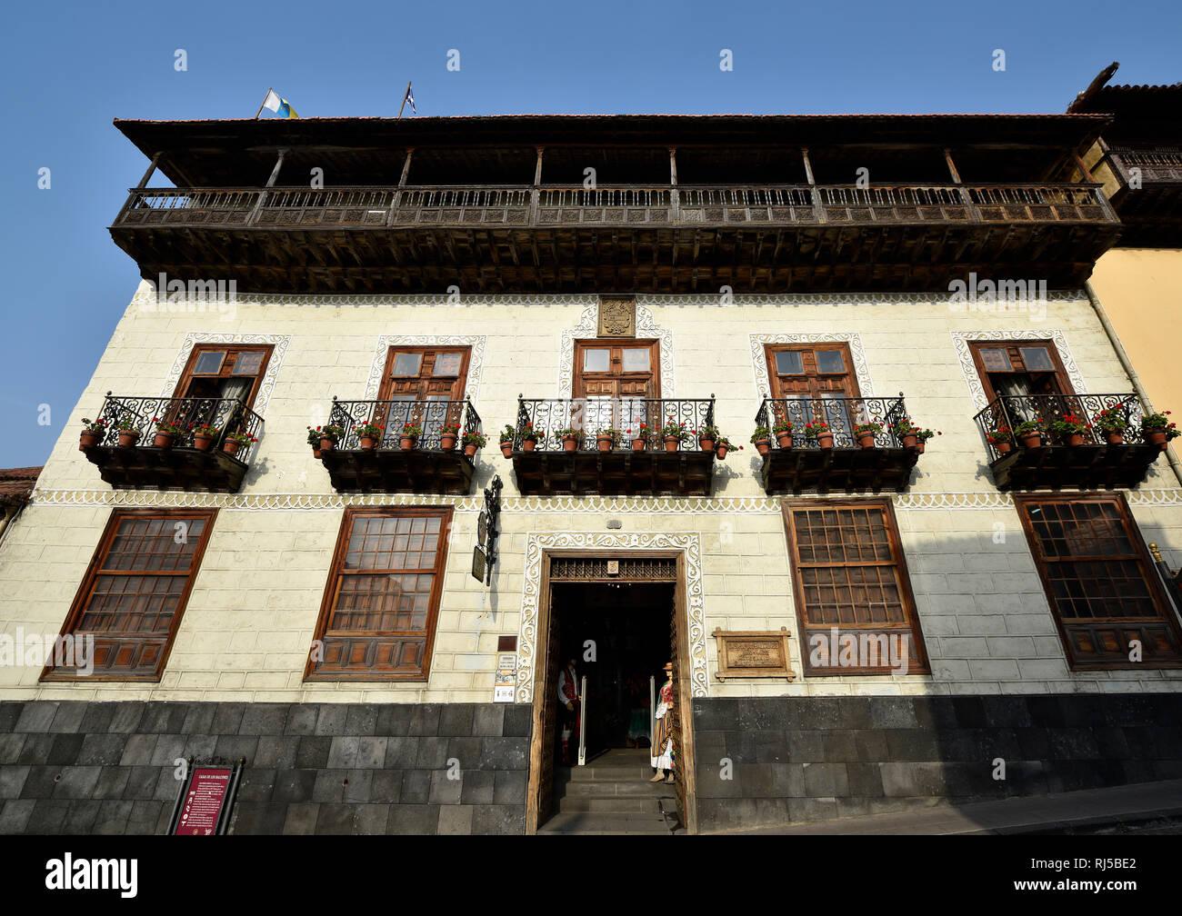 Außenansicht La Casa de los Balcones, La Orotava, Teneriffa, Kanarische Inseln, Spanien - Stock Image