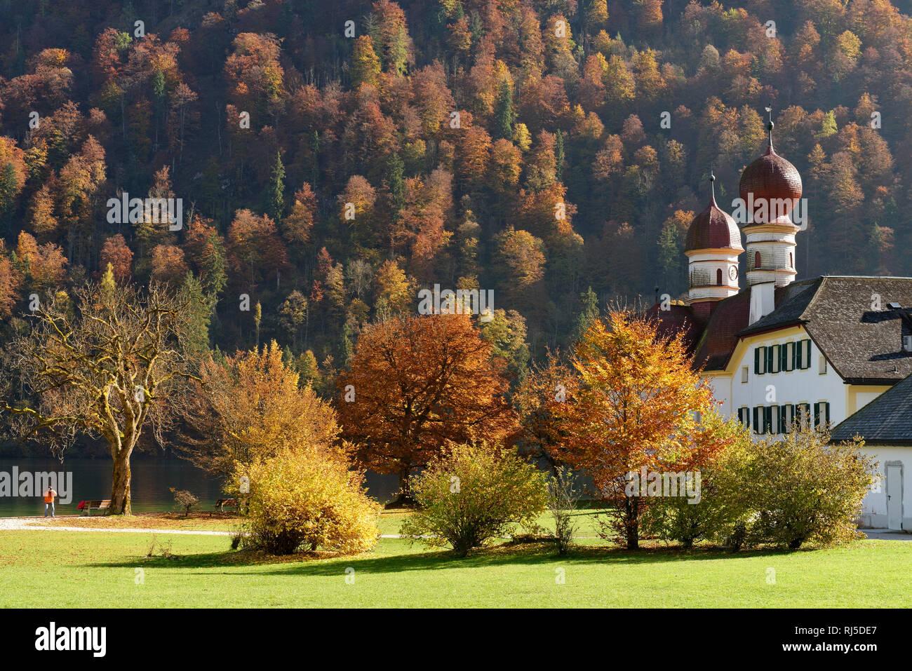 St. Bartholomä am Königssee, Berchtesgaden, Oberbayern, Bayern, Deutschland - Stock Image